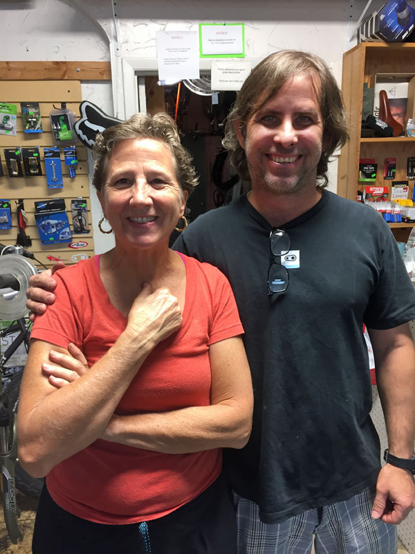 Nancy and Jeff at A1A Cycles in St. Augustine, Florida. The best bike shop!
