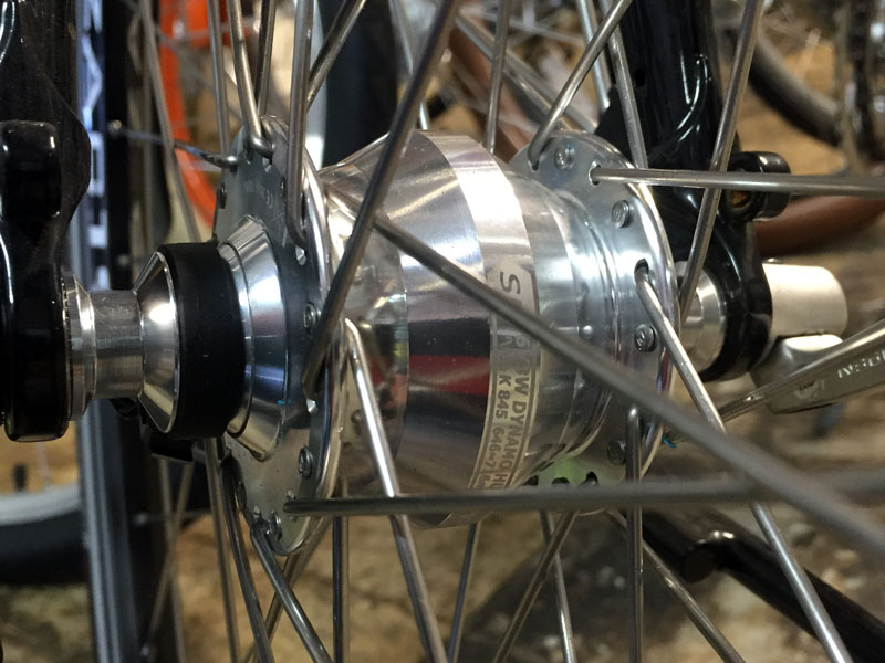 A close up of my very cool dynamo hub