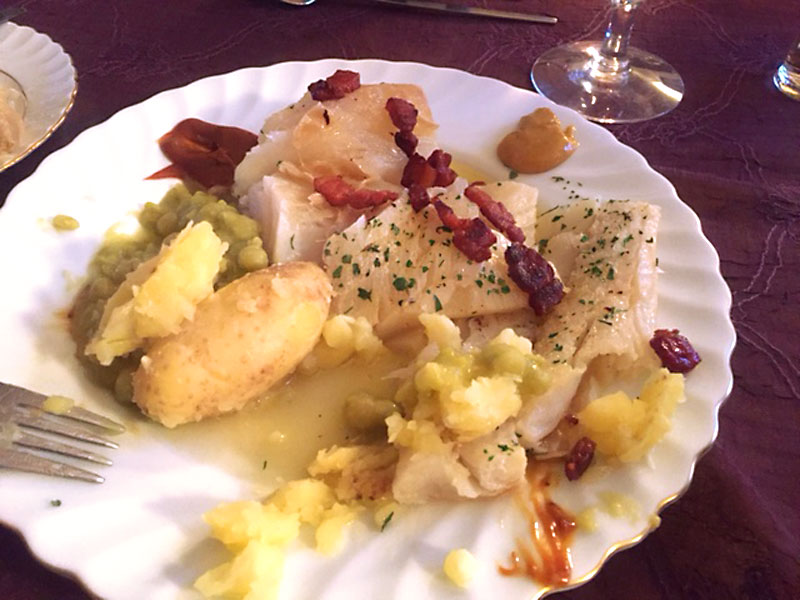 A delicious helping of lutefisk at Harald and Wenche's home in Trondheim, Norway