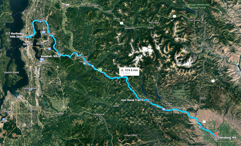 A Google map of our route - the first few days on the road. Seattle to Ellensburg, Washington.