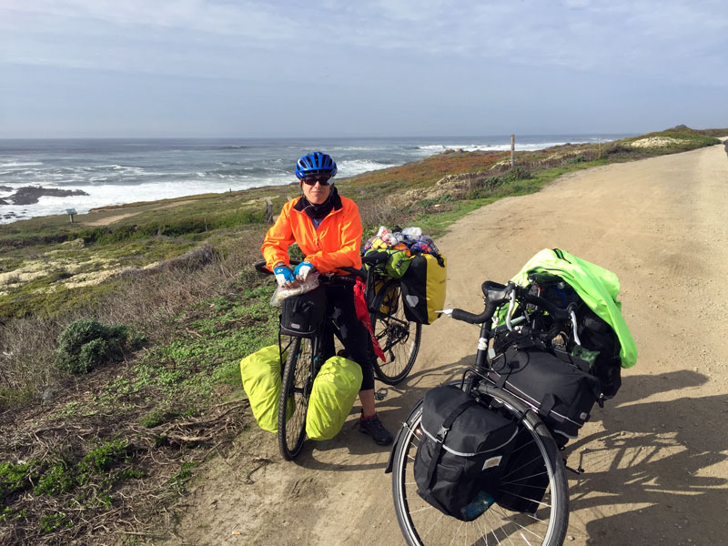 A brief pause while cycling along the Pacific Coast Highway south of San Francisco
