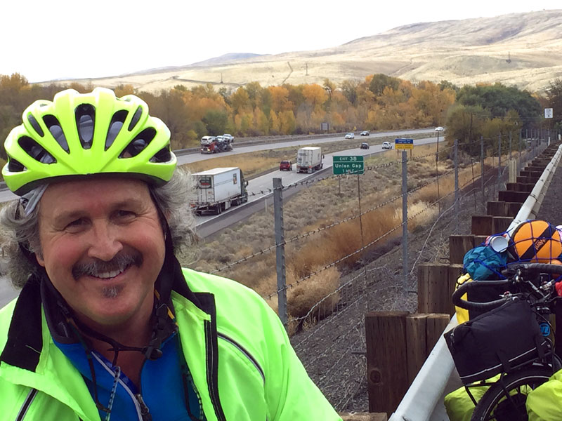 Hugh overlooking Union Gap on our cycling tour through Yakima Valley.