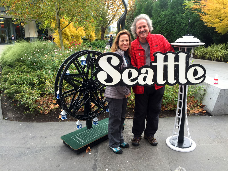 Standing at the foot of the Space Needle. Leaving Seattle via bicycle for San Diego the following day.